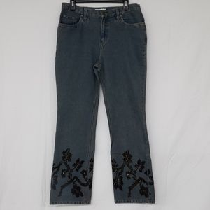 Faded Glory Boot Cut Denim  Blue Jeans Floral